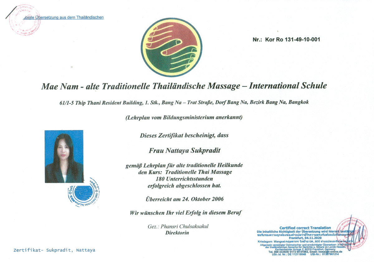 Über uns - Traditionelle Thai Massage in Bad Camberg